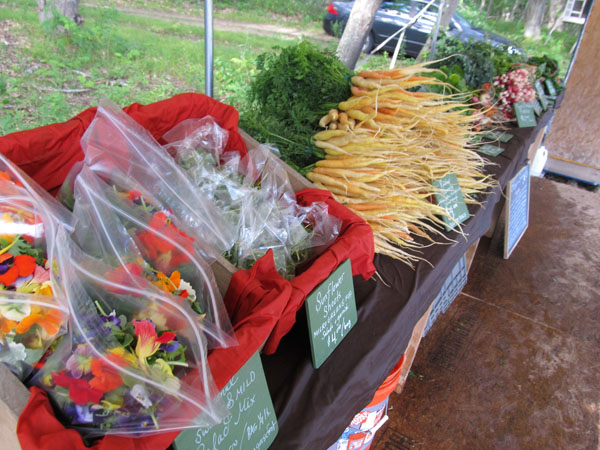 market display with wet sheets